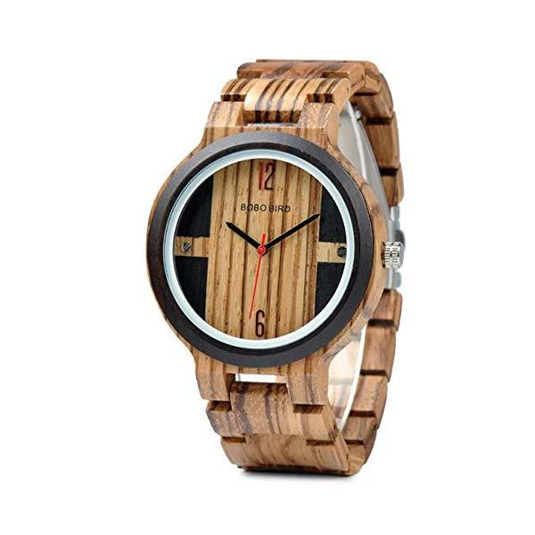 ボボバード BOBO BIRD 腕時計 木製 時計 ウッドウォッチ メンズ 男性用 BOBO BIRD Wood Quartz Round Watch Men Waterproof Wristwatch in Wooden Gift Box,Brown