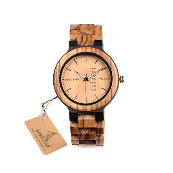 ボボバード BOBO BIRD 腕時計 木製 時計 ウッドウォッチ メンズ 男性用 BOBO BIRD Men Watch Wooden Quartz Round Wrist Watch Japan ムーブメント Week Date Display with Wooden Box,Brown