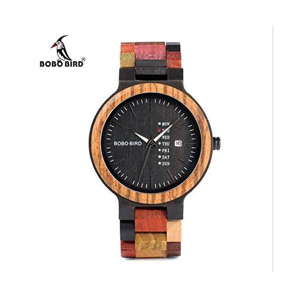 ボボバード BOBO BIRD 腕時計 木製 時計 ウッドウォッチ メンズ 男性用 レディース 女性用 ユニセックス BOBO BIRD Wooden Lover Watch Men Quartz Watch Date Week Display Wristwatch Women with Wooden Watch Box,Women