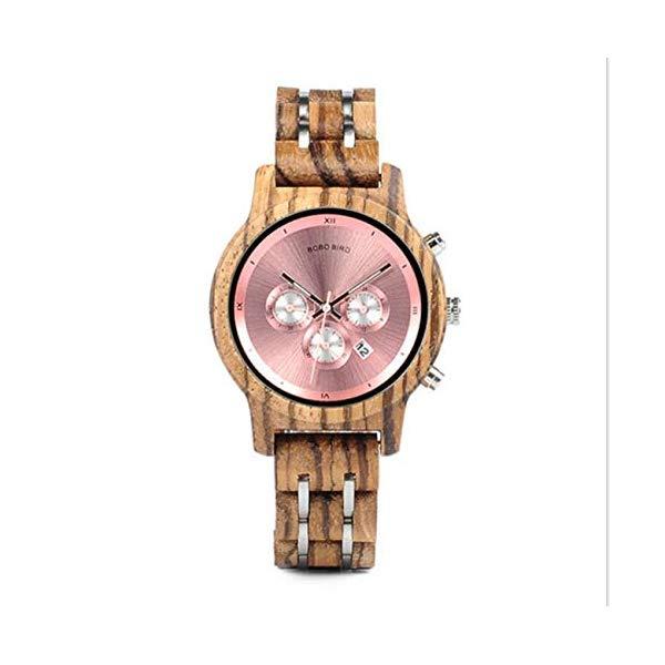 ボボバード BOBO BIRD 腕時計 木製 時計 ウッドウォッチ レディース 女性用 BOBO BIRD Women Quartz Watch Chronograph Date Watch Waterproof Wood Wrist Watch with Wooden Box,Pink