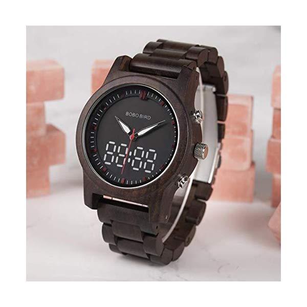 ボボバード BOBO BIRD 腕時計 木製 時計 ウッドウォッチ メンズ 男性用 BOBO BIRD Men Wooden Watch Digital and Quartz Luminous Wristwatch Timepieces Dual Display Watch with Wooden Watch Box