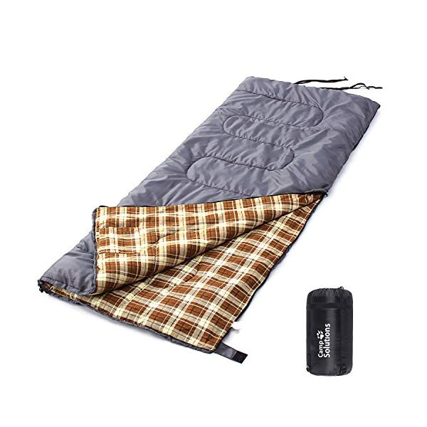 コールマン 寝袋 スリーピングバッグ シュラフ Camp Solutions XL Flannel Lined Sleeping Bag Lightweight Portable, for Traveling, Camping, Hiking, Office Nap