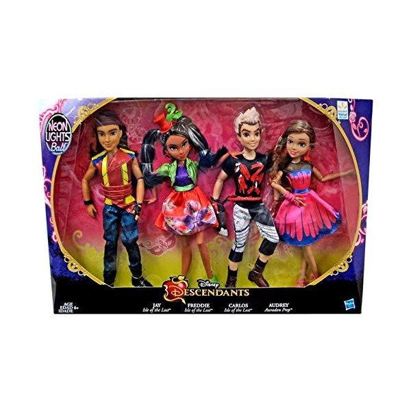ディズニー ディセンダント フレディ ドール 人形 フィギュア 着せ替え おもちゃ グッズ Disney Descendants Neon Lights Ball Exclusive 4-Pack Jay Freddie Carlos and Audrey