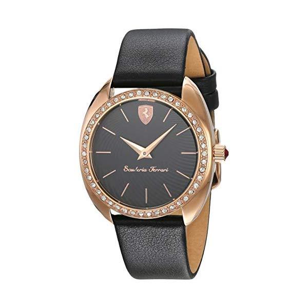 フェラーリ 腕時計 Ferrari 820019 ウォッチ レディース 女性用 Ferrari DonnaA Black Dial Leather Strap Ladies Watches 0820019
