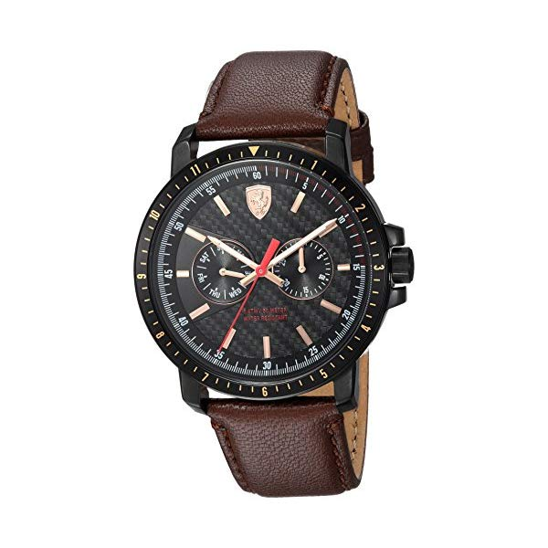 フェラーリ 腕時計 Ferrari 830452 ウォッチ メンズ 男性用 Ferrari Men's Turbo Stainless Steel Quartz Watch with Leather Strap, Brown, 22 (Model: 830452)