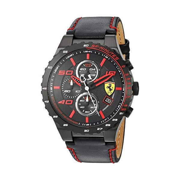 フェラーリ 腕時計 Ferrari 830363 ウォッチ スクーデリア メンズ 男性用 Scuderia Ferrari Men's Stainless Steel Quartz Watch with Leather Calfskin Strap, Black, 0.63 (Model: 830363)