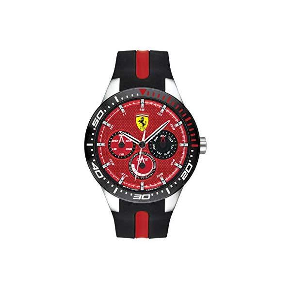 フェラーリ 腕時計 Ferrari 830588 ウォッチ メンズ 男性用 Ferrari Men's RedRev Quartz Stainless Steel and Silicone Strap Casual Watch, Color: Black (Model: 830588)