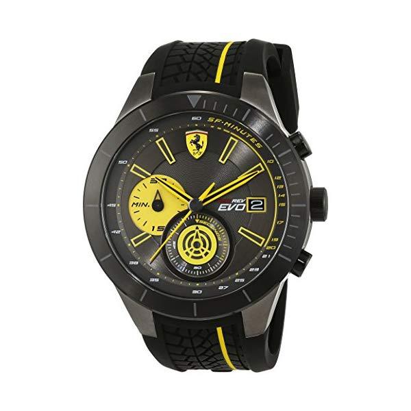 フェラーリ 腕時計 Ferrari 830342 ウォッチ メンズ 男性用 Ferrari Red Rev Chronograph Black and Yellow Dial Men's Watch 830342