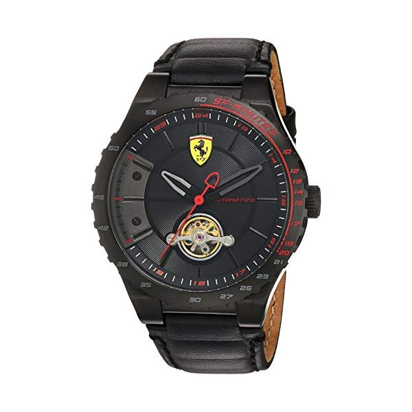 フェラーリ 腕時計 Ferrari 830366 ウォッチ スクーデリア メンズ 男性用 Scuderia Ferrari Men's Stainless Steel Mechanical-Hand-Wind Watch with Leather Calfskin Strap, Black, 16 (Model: 830366)