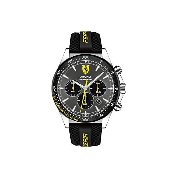 フェラーリ 腕時計 Ferrari 830594 ウォッチ メンズ 男性用 Ferrari Men's Pilota Quartz Stainless Steel and Silicone Strap Casual Watch, Color: Black (Model: 830594)