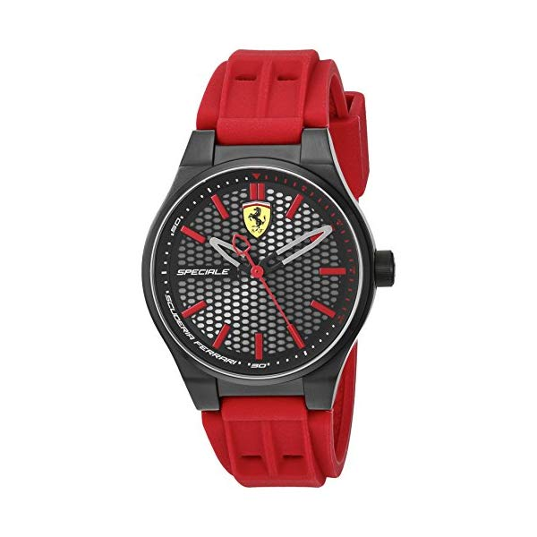 フェラーリ 腕時計 Ferrari 840010 ウォッチ スクーデリア メンズ 男性用 Scuderia Ferrari Men's Stainless Steel Quartz Watch with Silicone Strap, red, 0.55 (Model: 840010)