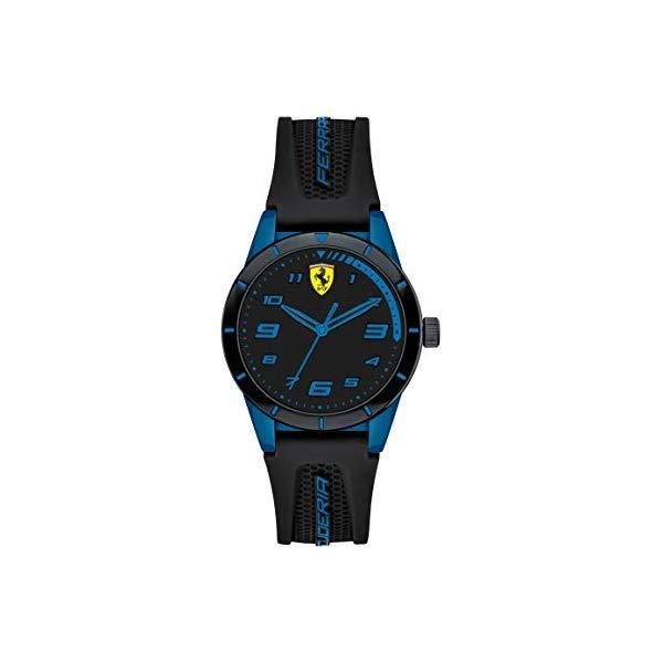 フェラーリ 腕時計 Ferrari 860007 ウォッチ キッズ 男の子 Ferrari Boy's RedRev Quartz TR90 and Silicone Strap Casual Watch, Color: Black (Model: 860007)