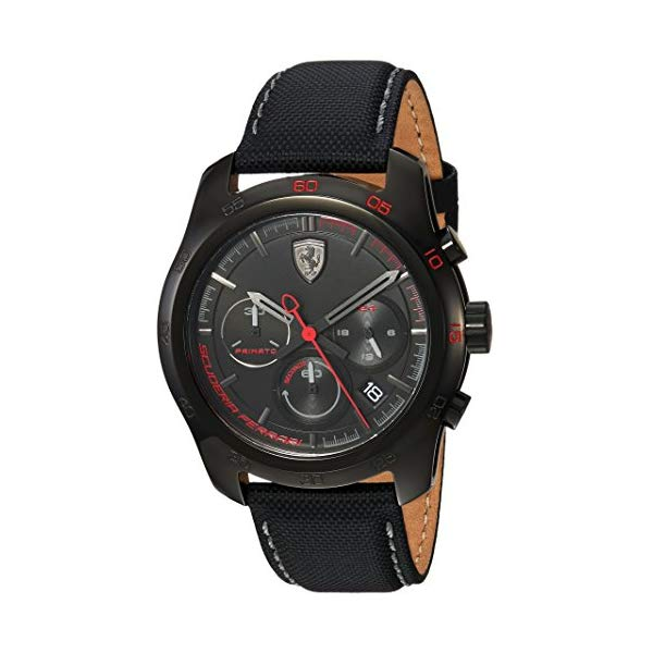 フェラーリ 腕時計 Ferrari 830446 ウォッチ メンズ 男性用 Ferrari Men's PRIMATO Stainless Steel Quartz Watch with Nylon Strap, Black, 22 (Model: 830446)