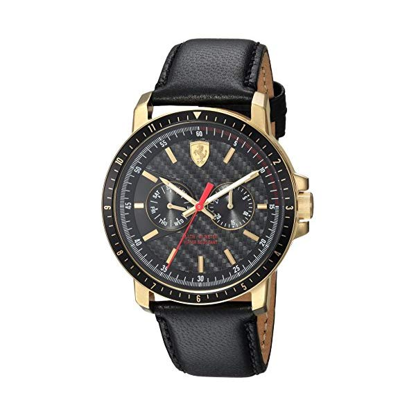 フェラーリ 腕時計 Ferrari 830451 ウォッチ メンズ 男性用 Ferrari Men's Turbo Stainless Steel Quartz Watch with Leather Strap, Black, 22 (Model: 830451)
