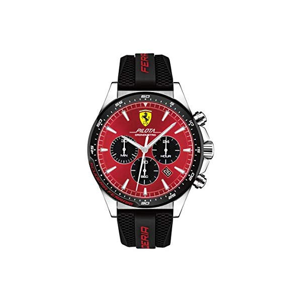 フェラーリ 腕時計 Ferrari 830595 ウォッチ メンズ 男性用 Ferrari Men's Pilota Quartz Stainless Steel and Silicone Strap Casual Watch, Color: Black (Model: 830595)