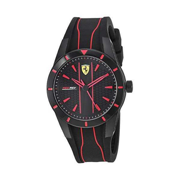 フェラーリ 腕時計 Ferrari 830479 ウォッチ メンズ 男性用 Ferrari Men's Red Rev Quartz Watch with Silicone Strap, Black, 18 (Model: 830479)