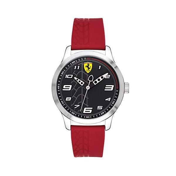 フェラーリ 腕時計 Ferrari 830447 ウォッチ キッズ 男の子 Ferrari Boy's Pitlane Quartz Stainless Steel and Silicone Strap Casual Watch, Color: Red (Model: 840019)