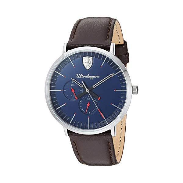 フェラーリ 腕時計 Ferrari 830566 ウォッチ メンズ 男性用 Ferrari Men's Ultraleggero Stainless Steel Quartz Watch with Leather Strap, Brown, 20 (Model: 0830566