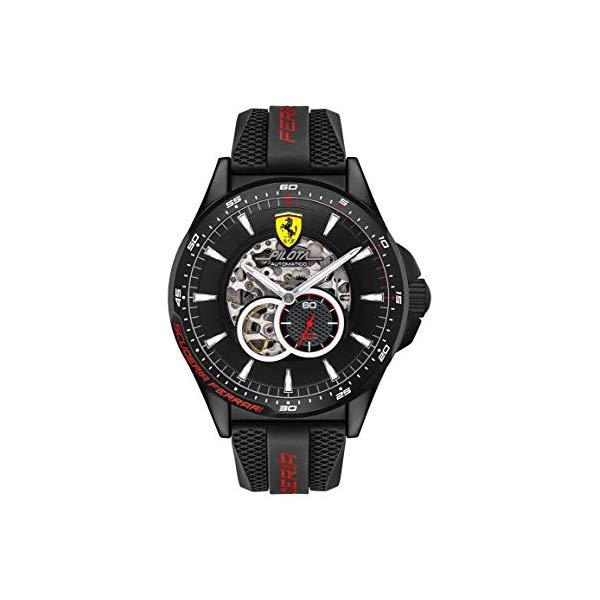 フェラーリ 腕時計 Ferrari 830600 ウォッチ メンズ 男性用 Ferrari Men's Pilota Quartz Black IP and Silicone Strap Casual Watch, Color: Black (Model: 830600)