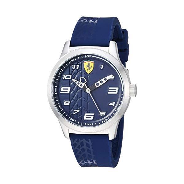 フェラーリ 腕時計 Ferrari 840020 ウォッチ キッズ 男の子 Ferrari Boy's Pitlane Quartz Stainless Steel and Silicone Strap Casual Watch, Color: Blue (Model: 840020)