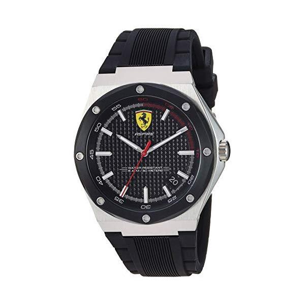 フェラーリ 腕時計 Ferrari 830529 ウォッチ メンズ 男性用 Ferrari Men's Aspire Quartz Stainless Steel and Silicone Strap Casual Watch, Color: Black (Model: 830529)