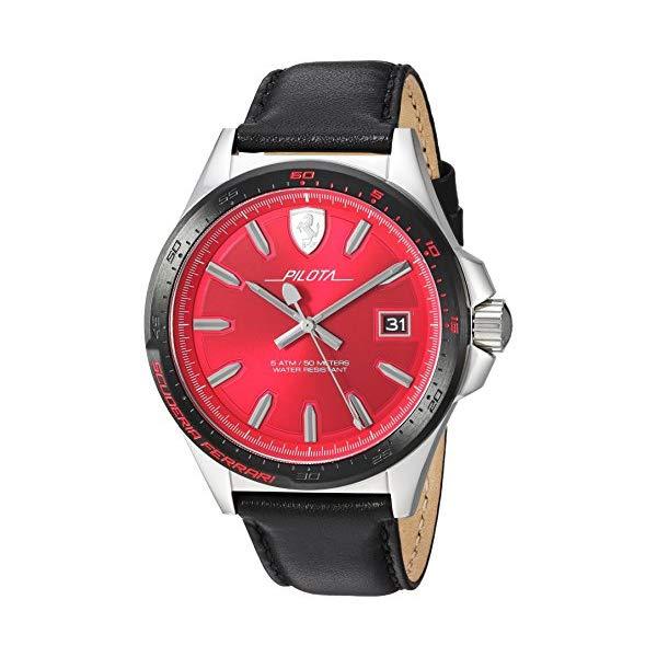 フェラーリ 腕時計 Ferrari 830489 ウォッチ メンズ 男性用 Ferrari Men's Pilota Stainless Steel Quartz Watch with Leather Calfskin Strap, Black, 21 (Model: 830489)