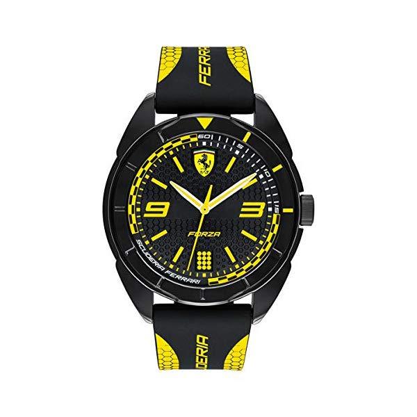 フェラーリ 腕時計 Ferrari 830516 ウォッチ メンズ 男性用 Ferrari Men's Forza Quartz Plastic and Silicone Strap Casual Watch, Color: Black with Yellow Detail (Model: 830516)
