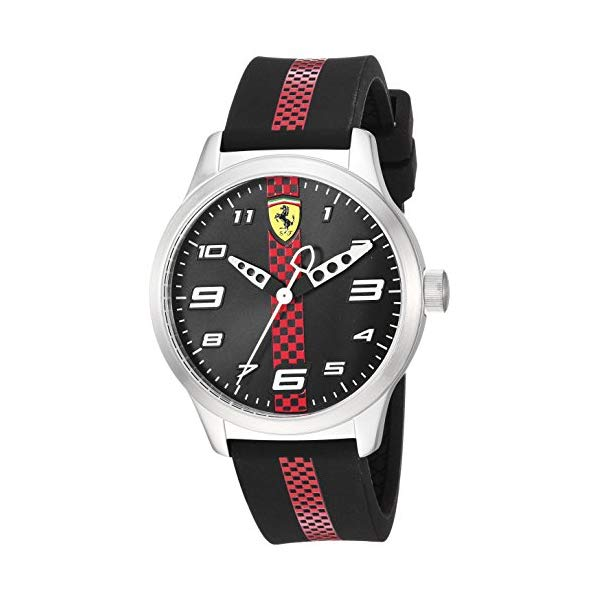 フェラーリ 腕時計 Ferrari 860002 ウォッチ キッズ 男の子 Ferrari Boy's Pitlane Quartz Stainless Steel and Silicone Strap Casual Watch, Color: Black (Model: 860002)