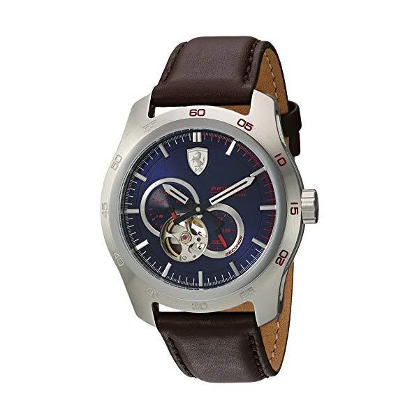 フェラーリ 腕時計 Ferrari 830443 ウォッチ メンズ 男性用 Ferrari Men's Primato Stainless Steel Japanese-Automatic Watch with Leather Calfskin Strap, Brown, 19 (Model: 0830443)