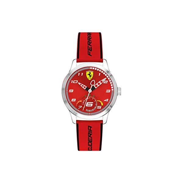 フェラーリ 腕時計 Ferrari 860004 ウォッチ キッズ 男の子 Ferrari Boy's Pitlane Quartz Stainless Steel and Silicone Strap Casual Watch, Color: Red (Model: 860004)