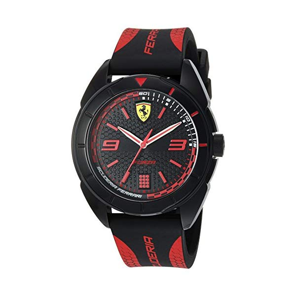 フェラーリ 腕時計 Ferrari 830515 ウォッチ メンズ 男性用 Ferrari Men's Forza Quartz Plastic and Silicone Strap Casual Watch, Color: Black with Red Detail (Model: 830515)