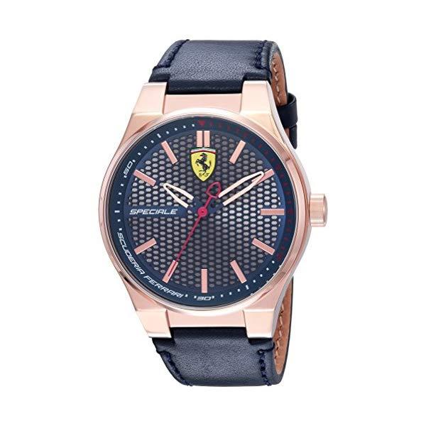 フェラーリ 腕時計 Ferrari 830416 ウォッチ スクーデリア メンズ 男性用 Scuderia Ferrari Men's Speciale 3H Gold Quartz Watch with Leather Calfskin Strap, Blue, 16 (Model: 0830416)