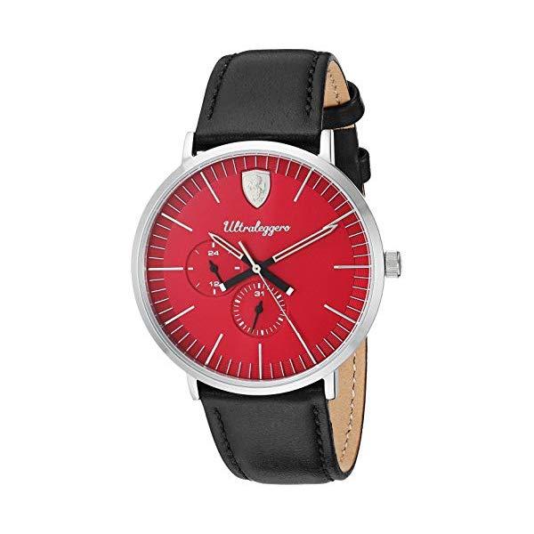 フェラーリ 腕時計 Ferrari 830567 ウォッチ メンズ 男性用 Ferrari Men's Ultraleggero Stainless Steel Quartz Watch with Leather Strap, Black, 20 (Model: 0830567)