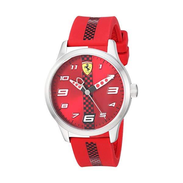 フェラーリ 腕時計 Ferrari 860001 ウォッチ キッズ 男の子 Ferrari Boy's Pitlane Quartz Stainless Steel and Silicone Strap Casual Watch, Color: Black (Model: 860001)