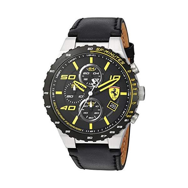 フェラーリ 腕時計 Ferrari 830360 ウォッチ スクーデリア メンズ 男性用 Scuderia Ferrari Men's Stainless Steel Quartz Watch with Leather Calfskin Strap, Black, 0.63 (Model: 830360)