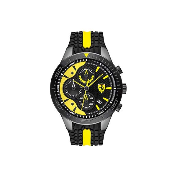 """フェラーリ 腕時計 Ferrari 830590 ウォッチ メンズ 男性用 Ferrari Men""""s RedRev Quartz Black IP and Silicone Strap Casual Watch, Color: Black (Model: 830590)"""