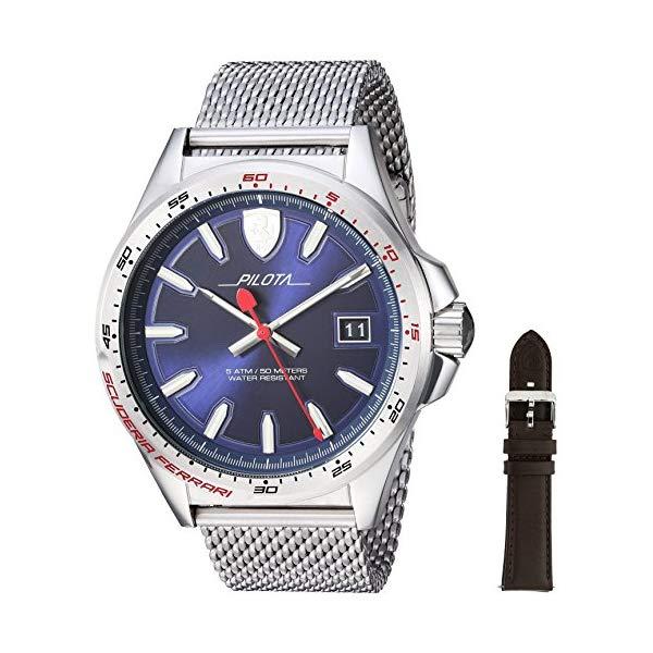 フェラーリ 腕時計 Ferrari 830491 ウォッチ メンズ 男性用 Ferrari Men's Pilota Quartz Stainless Steel and Interchangeable Strap/Bracelet Casual Watch, Color: Silver (Model: 830491)