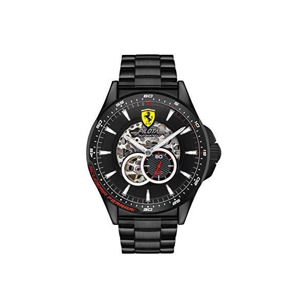 フェラーリ 腕時計 Ferrari 830602 ウォッチ メンズ 男性用 Ferrari Men's Pilota Quartz Black IP and Bracelet Casual Watch, Color: Black (Model: 830602)