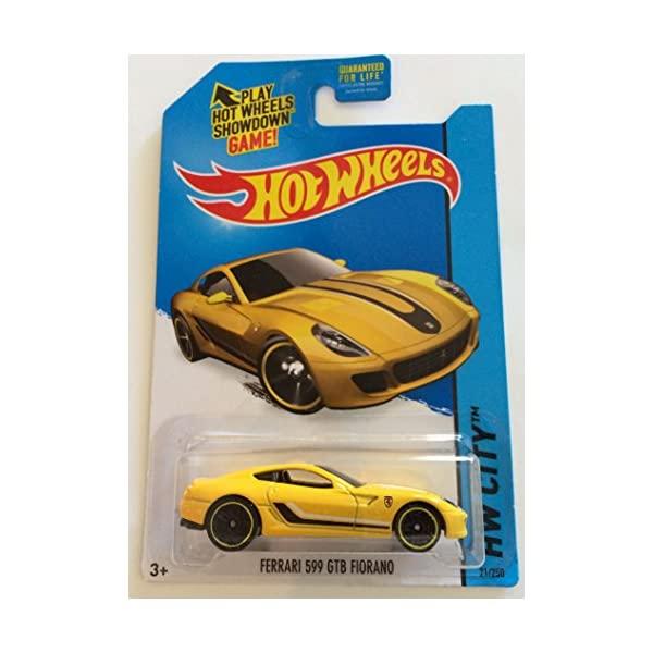 フェラーリ ホットウィール モデルカー ダイキャスト 模型 ミニカー グッズ メーカー公式 納車祝い 人気商品 プレゼント インテリア スーパーカー Hot Ferrari Fiorano Yellow 599 HW City GTB Wheels 250 21 2015