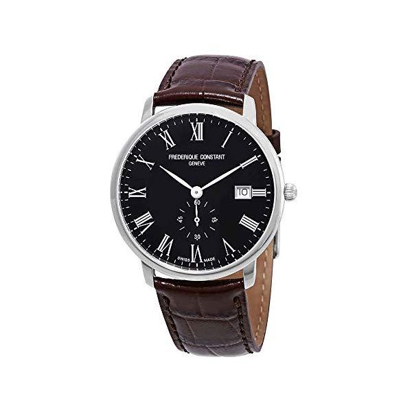 フレデリックコンスタント 腕時計 Frederique Constant FC-245BR5S6DBR ウォッチ メンズ 男性用 Frederique Constant Slimline Black Dial Leather Strap Men's Watch FC-245BR5S6DBR