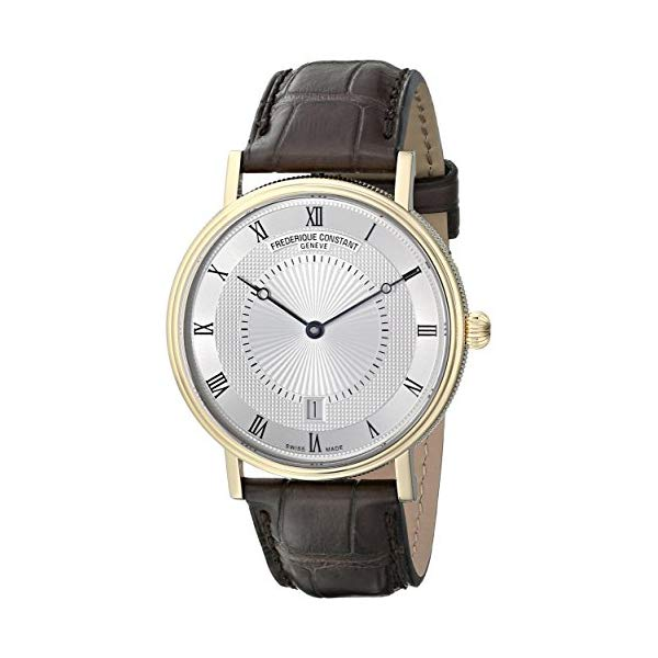 フレデリックコンスタント 腕時計 Frederique Constant FC306MC4S35 ウォッチ メンズ 男性用 Frederique Constant Men's Slim Line Gold-Tone Stainless Steel Swiss Automatic Watch with Silver Dial and Brown Leather Band FC-306MC4S35