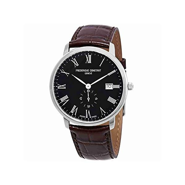 フレデリックコンスタント 腕時計 Frederique Constant FC-245BR5S6DBR ウォッチ メンズ 男性用 Frederique Constant Slimline Black Dial Leather Strap Mens Watch FC-245BR5S6DBRXG (Renewed)