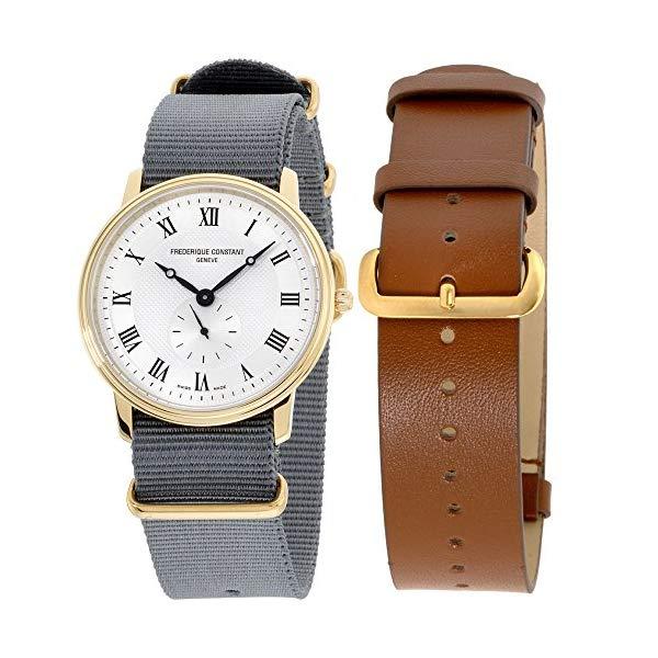 フレデリックコンスタント 腕時計 Frederique Constant FC235M4S5GRY ウォッチ メンズ 男性用 Frederique Constant Slimline Silver Dial Nylon Strap Men's Watch FC235M4S5GRY