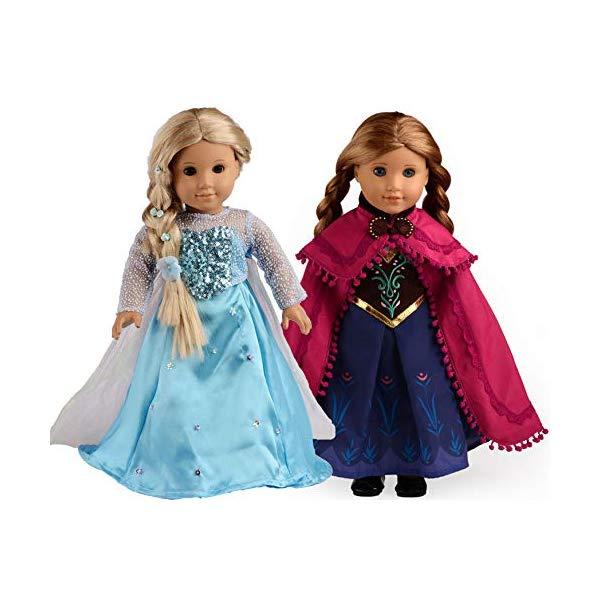 アナと雪の女王2 エルサ アナ おもちゃ 人形 ドール フィギュア ディズニー sweet dolly Elsa and Anna Princess Costumes for 18 Inch American Girl Doll Clothes