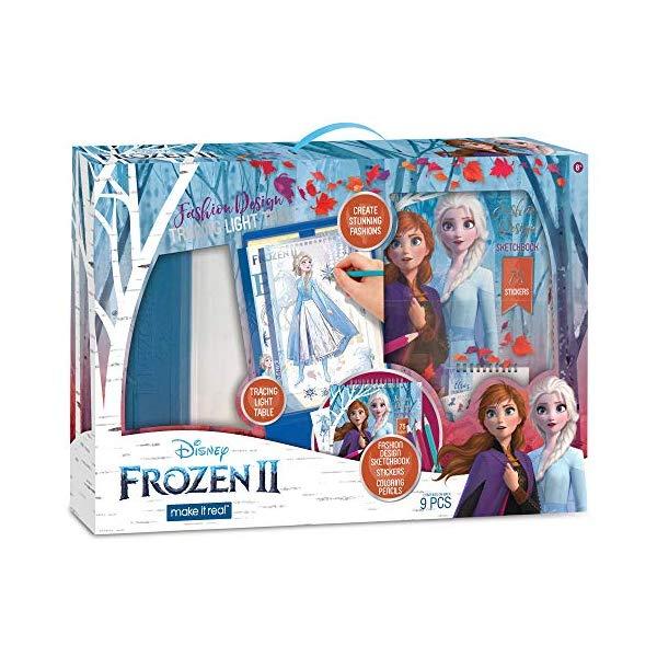 アナと雪の女王2 エルサ アナ ファッション デザイン トレース 写し絵 ぬりえ セット おもちゃ グッズ Make It Real - Disney Frozen 2 Fashion Design Tracing Light Table. Kids Fashion Design Kit Includes Light Table, Disney Sketchbook, Stencils, Stickers