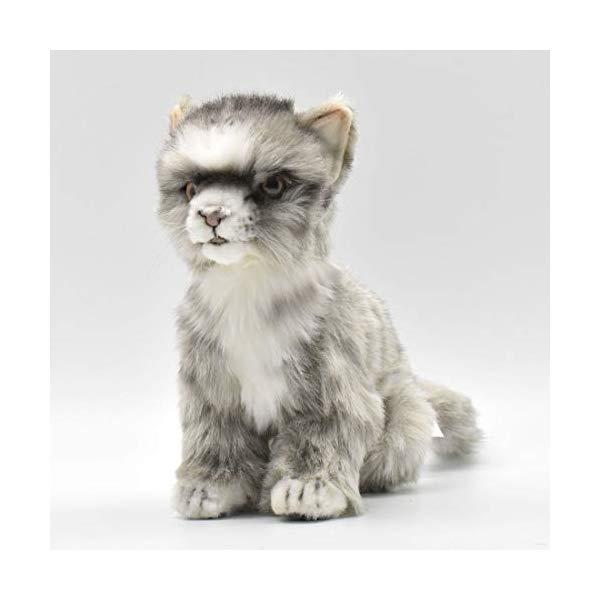 ハンサ 子猫 ホワイト 白 ぬいぐるみ Hansa Kitten Plush, グレー/白い