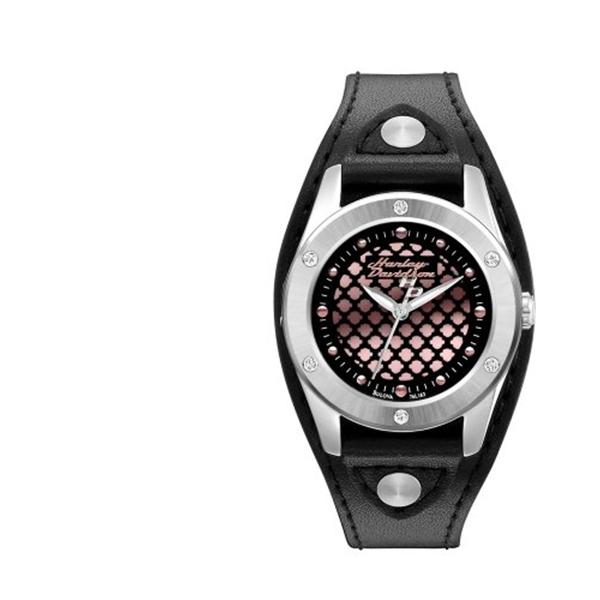 ハーレーダビッドソン Harley-Davidson Harley Davidson 腕時計 時計 Harley-Davidson Women's Stainless Steel Black Leather Watch, Pink Logo 76L163