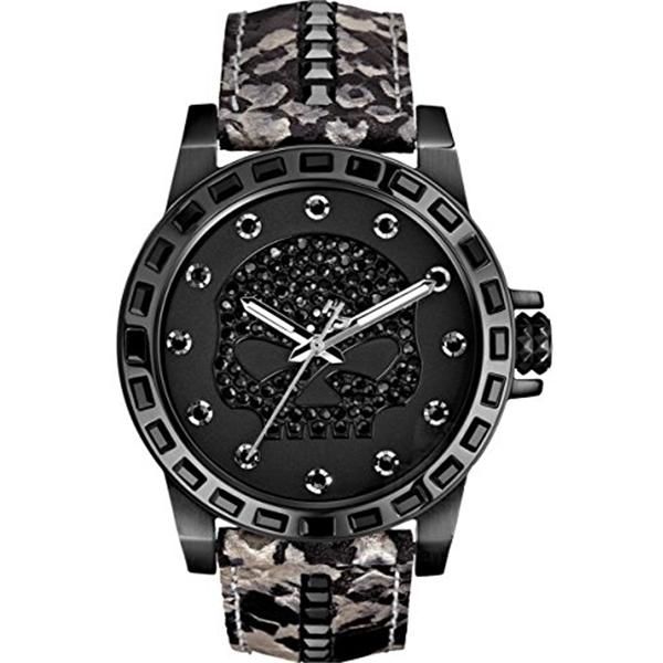 ハーレーダビッドソン Harley-Davidson Harley Davidson 腕時計 時計 Harley-Davidson Women's Bulova Black Crystal Skull Wrist Watch 78L116