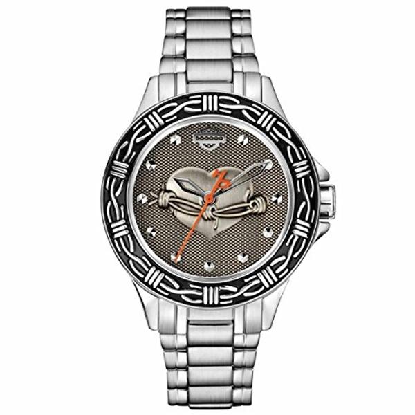 ハーレーダビッドソン Harley-Davidson Harley Davidson 腕時計 時計 Harley-Davidson Women's Bulova Heart & Barbed Wire Wrist Watch 76L166