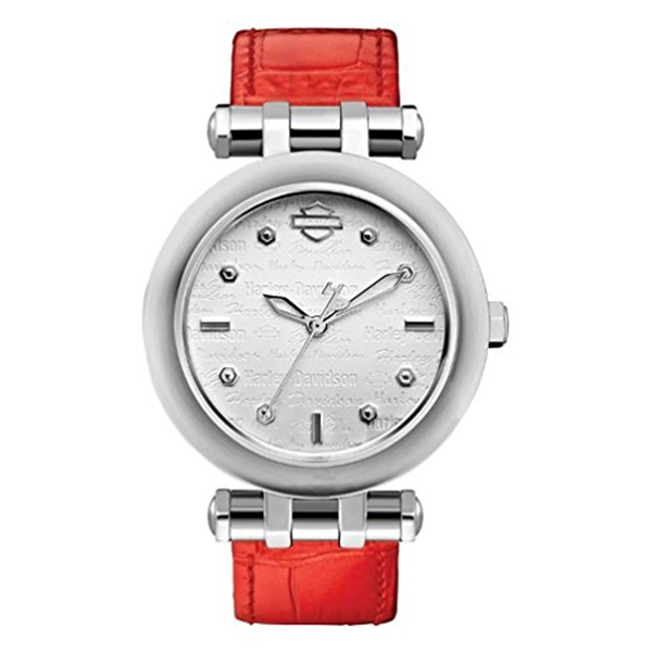 ハーレーダビッドソン Harley-Davidson Harley Davidson 腕時計 時計 Harley-Davidson Women's Bulova Orange Leather Wrist Watch 76L167